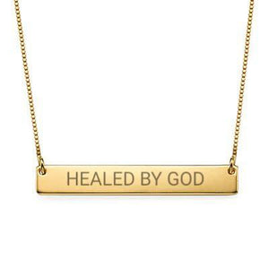 """Healed By God"" Christian Inspirational Bar Necklace - My Family Necklace"