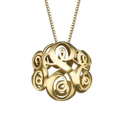3D Monogram Necklace in 18K Gold Plating - My Family Necklace