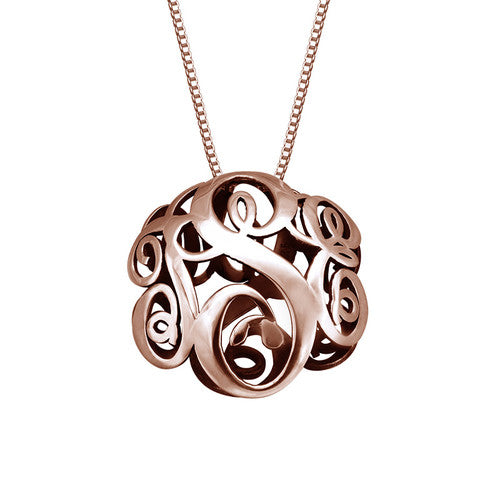 3D Monogram Necklace in 18K Rose Gold Plating - My Family Necklace