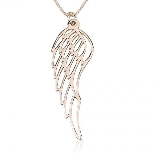 Angel Wing Necklace in 24ct Rose Gold Plating over Sterling Silver - My Family Necklace