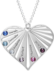 Engraved Family Necklace with Birthstones