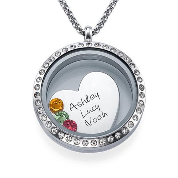 My Children is My Life Floating Locket Necklace - My Family Necklace