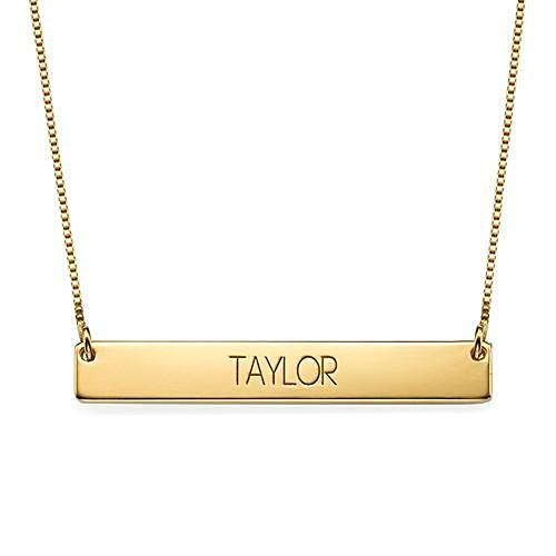 Engraved Bar Necklace With Capital Letters - My Family Necklace
