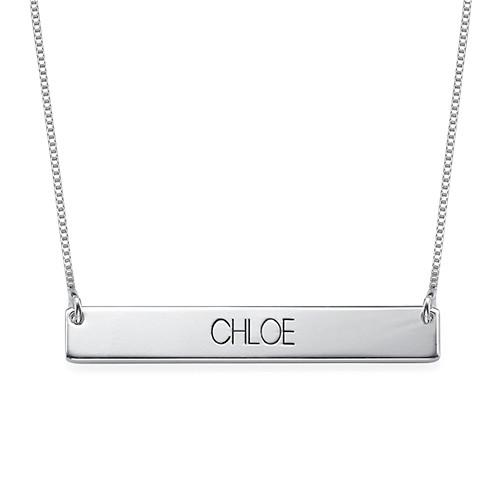 Engraved Bar Necklace With Capital Letters in Sterling Silver - My Family Necklace