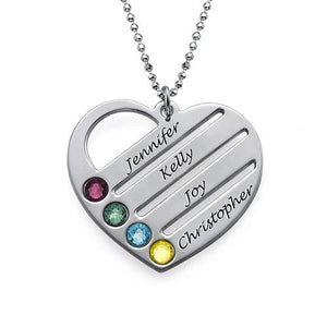 Heart Necklace with Engraved Names and Swarovski Birthstones - My Family Necklace