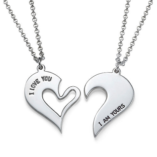 Breakable Heart Necklace for Couples in Sterling Silver - My Family Necklace