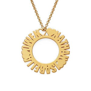 Mom's Circle Name Necklace in 18K Gold Plating - My Family Necklace