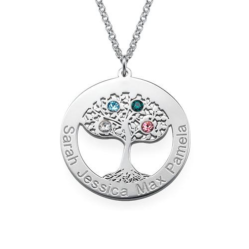 Tree of Life Necklace with Swarovski in Sterling Silver - My Family Necklace