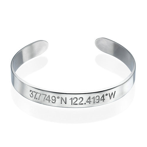 Coordinates Bangle Bracelet in Sterling Silver