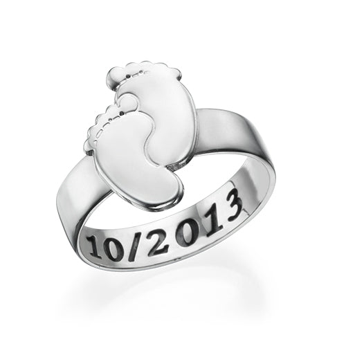 Engraved Baby Feet Ring in Sterling Silver