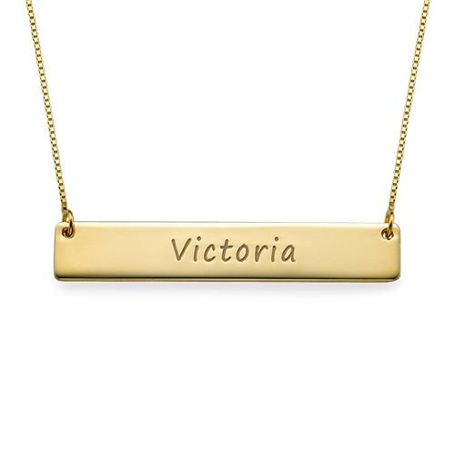 10K Solid Gold Engraved Bar Necklace - My Family Necklace