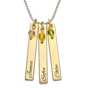 Engraved Bar Necklace with Swarovski in 18K Gold Plating - My Family Necklace