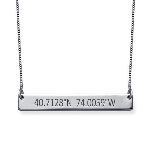 Engraved Coordinates Bar Necklace in Sterling Silver