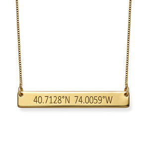 Engraved Coordinates Bar Necklace in 18K Gold Plating