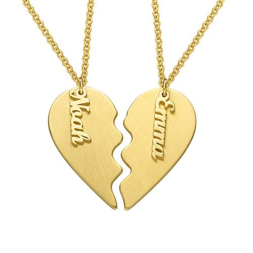 Engraved Couple Heart Necklace in Matte Gold Plating - My Family Necklace