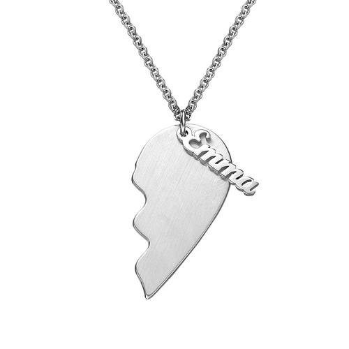 2540eb722387 ... Engraved Couple Heart Necklace in Sterling Silver - My Family Necklace  ...