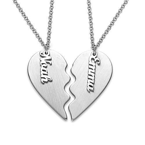 Engraved Couple Heart Necklace in Sterling Silver - My Family Necklace