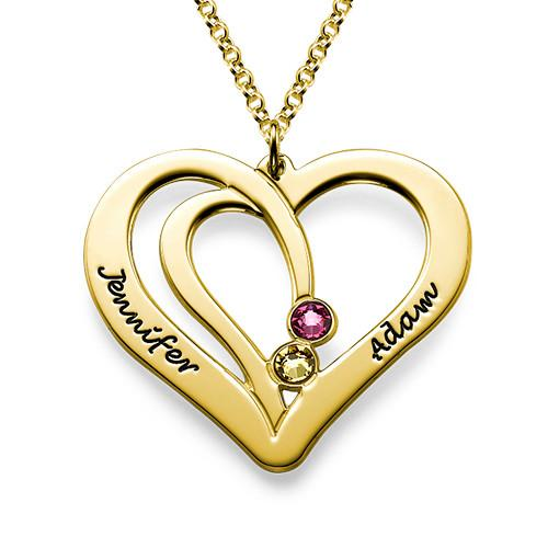 Engraved Two Heart Necklace in 18K Gold Plating - My Family Necklace