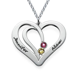 Engraved Two Hearts Necklace with Swarovski Birthstone - My Family Necklace