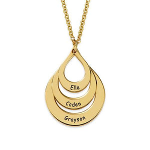 Engraved Family Necklace Drop Shaped in 18K Rose Gold Plating - My Family Necklace