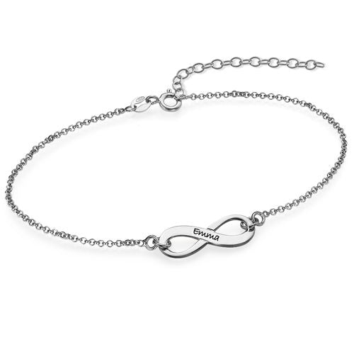 Engraved Infinity Bracelet in Sterling Silver