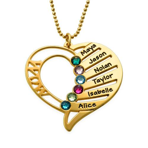 Engraved Mom Birthstone Necklace in 18K Gold Plating - My Family Necklace