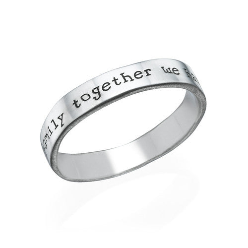 Engraved Ring in Sterling Silver - Hand Stamped Style