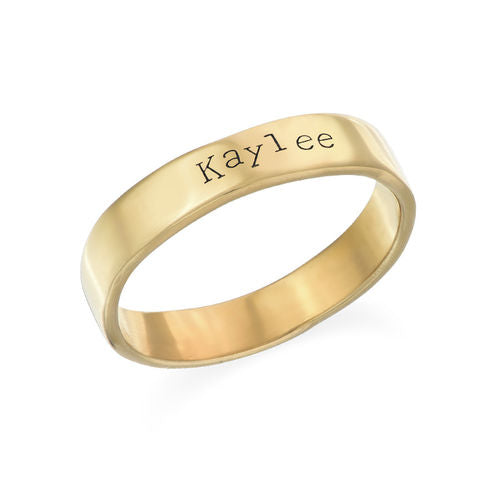 Engraved Ring in 18K Gold Plating- Hand Stamped Style
