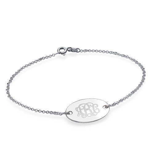 Engraved Oval Monogram Bracelet in Sterling Silver