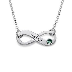 Silver Engraved Swarovski Infinity Necklace - My Family Necklace