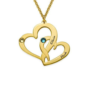 Engraved Two Hearts Necklace in 18K Gold Plating - My Family Necklace