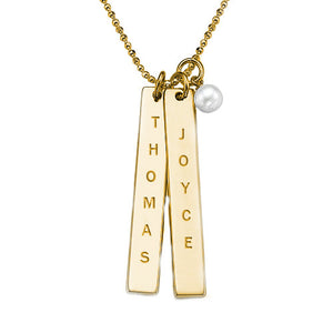 Engraved Vertical Bar Necklace with Freshwater Pearl in 18K Gold Plating - My Family Necklace