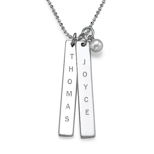 Engraved Vertical Bar Necklace with Freshwater Pearl - My Family Necklace
