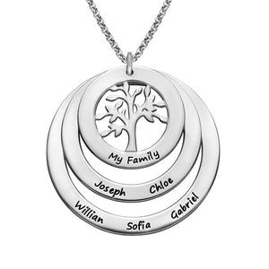 Personalized Hanging Family Tree Circle Necklace