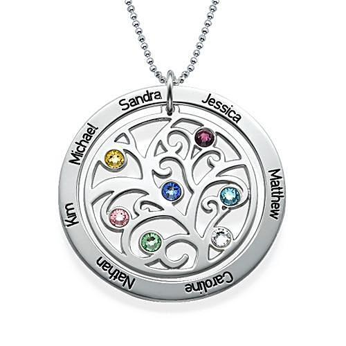 Family Tree Birthstone Necklace in Sterling Silver - My Family Necklace