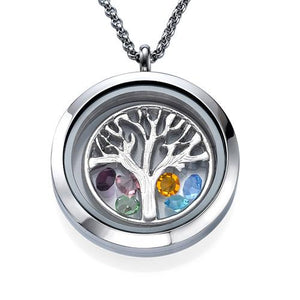Family Tree Floating Locket Necklace with Birthstones - My Family Necklace