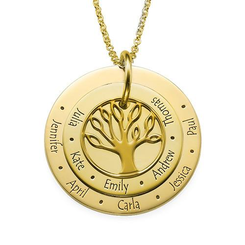 Personalized Family Tree Necklace in 18K Gold Plating - My Family Necklace