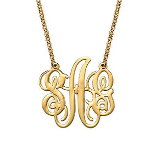 Fancy Sterling Silver Monogram Necklace in 18K Gold Plating - My Family Necklace