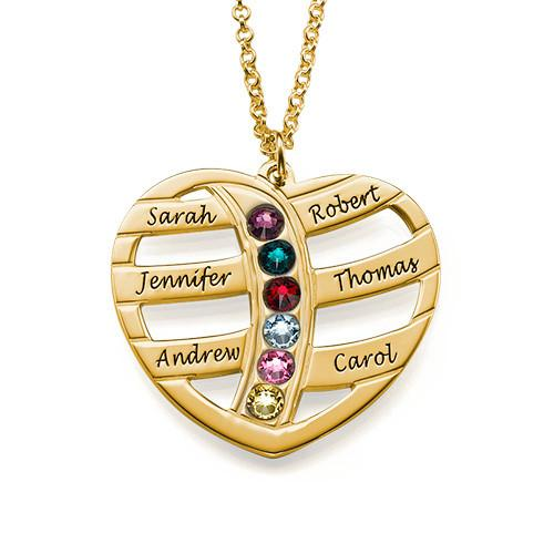 Personalized Heart Necklace with Birthstones in 18K Gold Plating - My Family Necklace