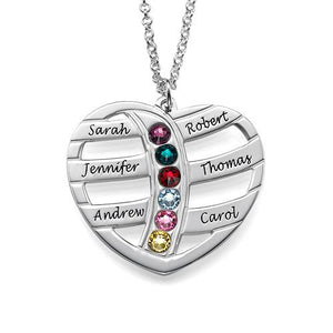 Personalized Heart Necklace with Birthstones - My Family Necklace