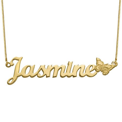 Butterfly Name Necklace in 18K Gold Plating