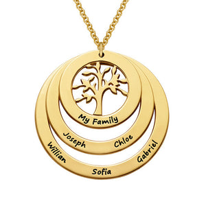 Personalized Hanging Family Tree Circle Necklace in 18K Gold Plating