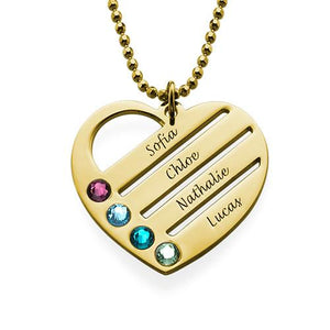 Heart Necklace with Engraved Names in 18K Gold Plating - My Family Necklace