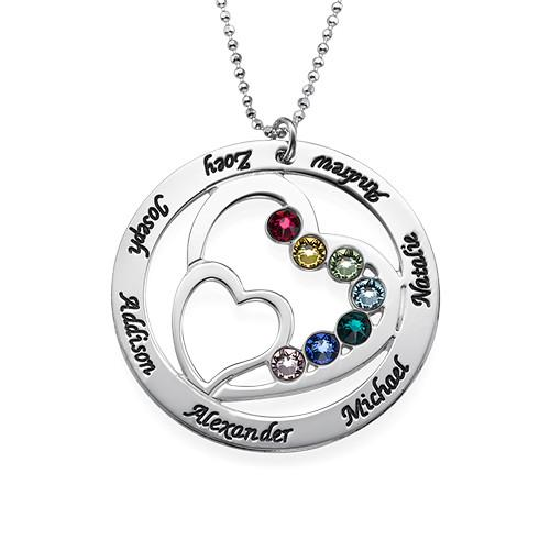 Family Heart Necklace in Sterling Silver with Swarovski Birthstones - My Family Necklace