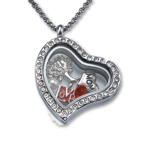 I Love My Mom Floating Locket Necklace - My Family Necklace
