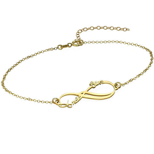 Infinity Bracelet with 2 Names in 18K Gold Plating