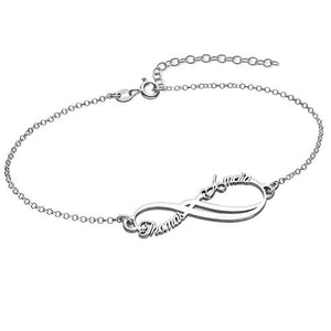 Infinity Bracelet with 2 Names in Sterling Silver