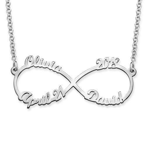 Sterling Silver Infinity Necklace with Four Names - My Family Necklace