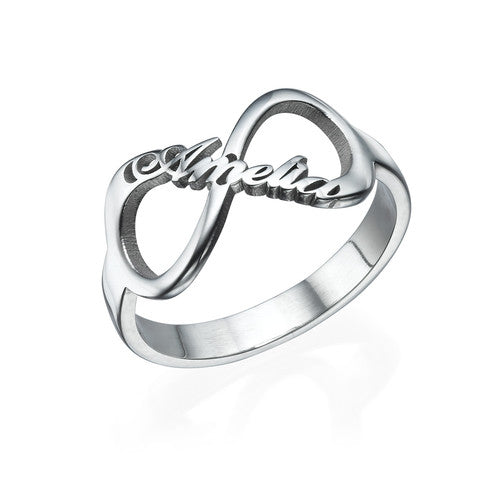 Infinity Name Ring in Sterling Silver