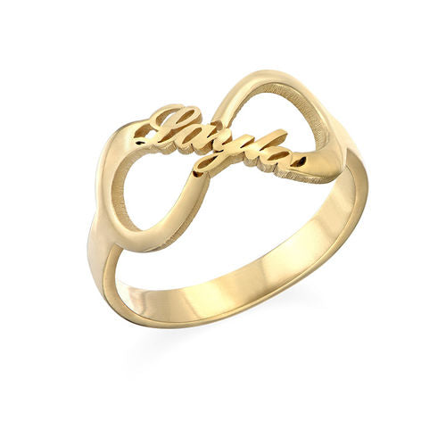 Infinity Name Ring in 18K Gold Plating